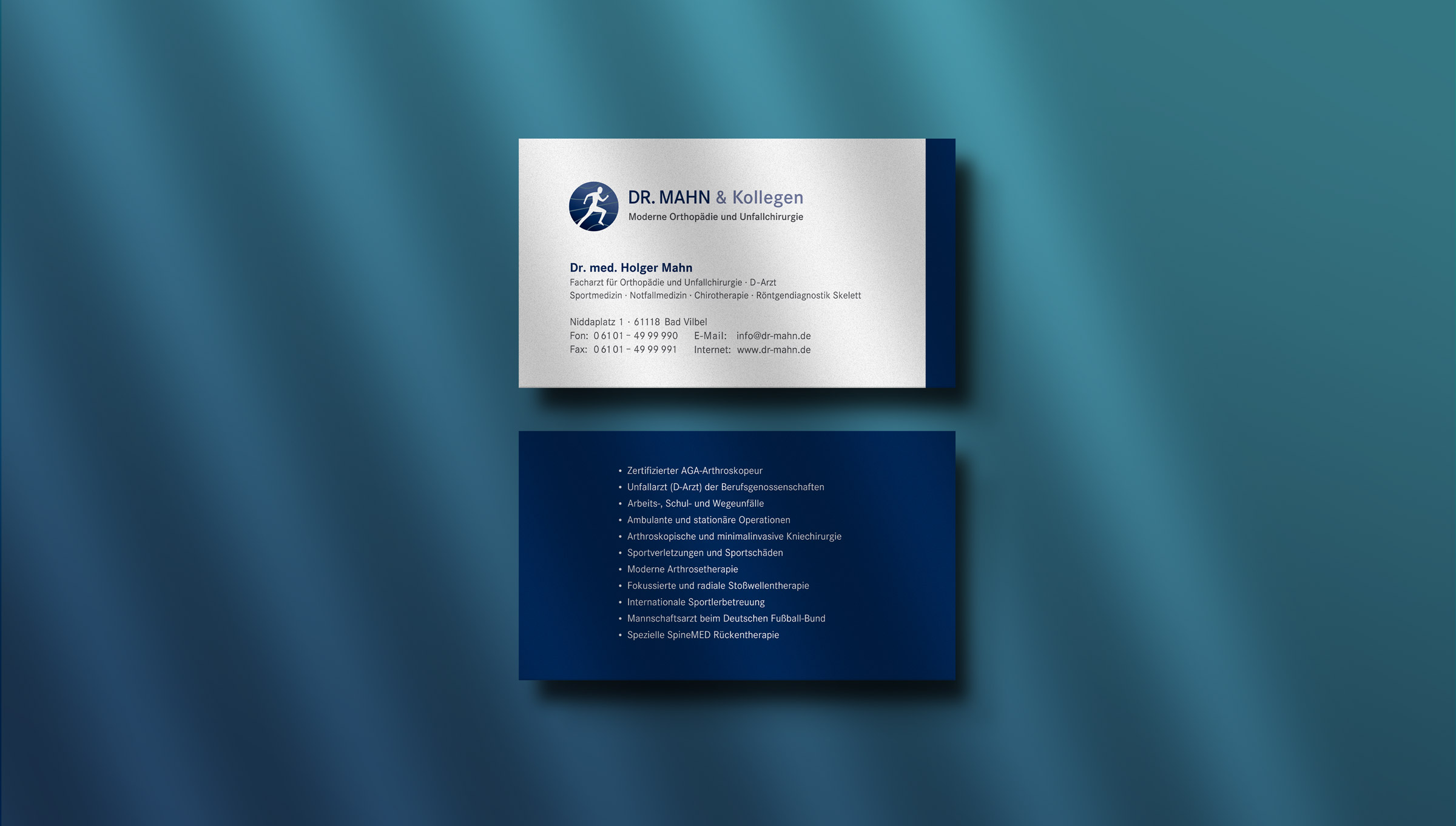Visitenkarten für einen Orthopäden aus Bad Vilbel bei Frankfurt.
