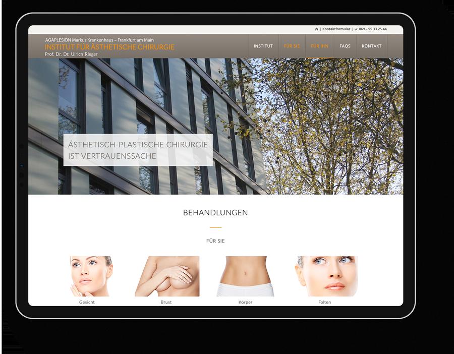 Responsive Webdesign für die Klinik für ästhetische Chirurgie in Frankfurt am Main