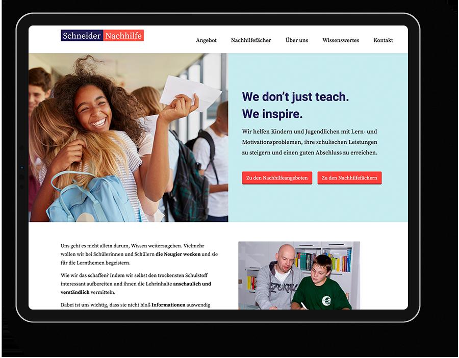 Website Nachhilfe Institut