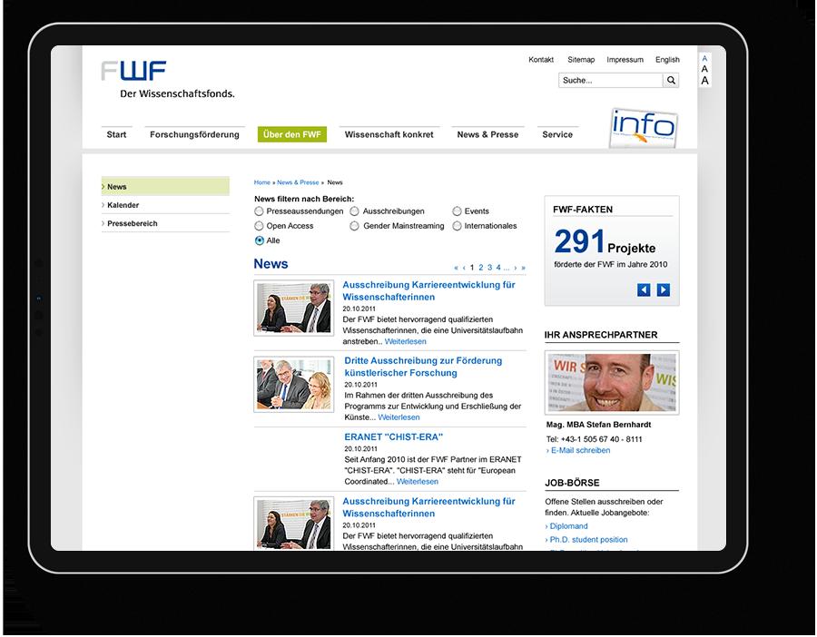 User Interface Design für Wissenschaftsfonds