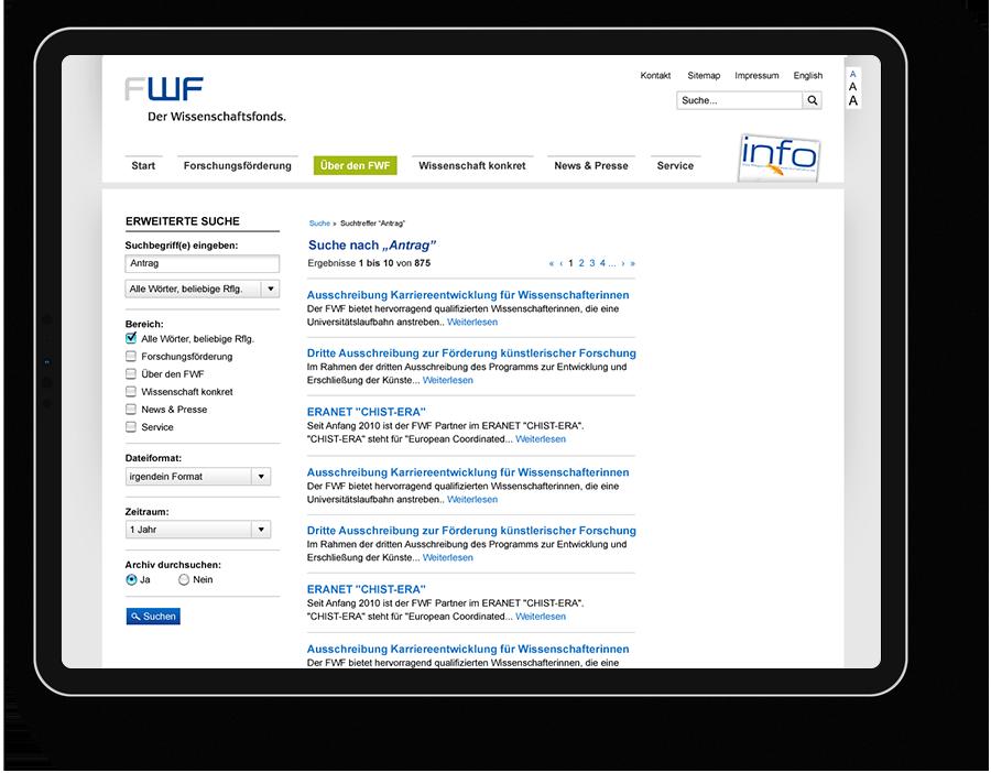 ScreenDesign für Wissenschaftsfonds