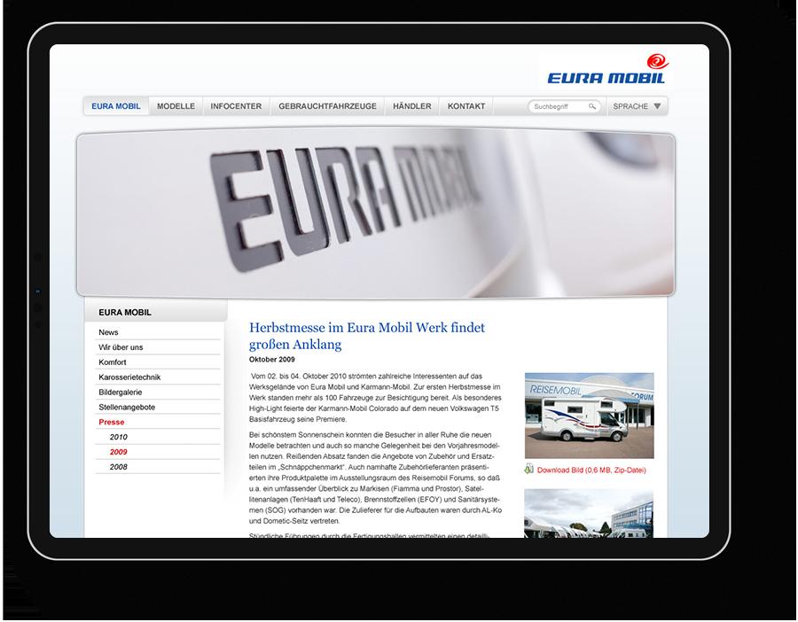 Screendesign für Wohnmobilhersteller, Industrieunternehmen