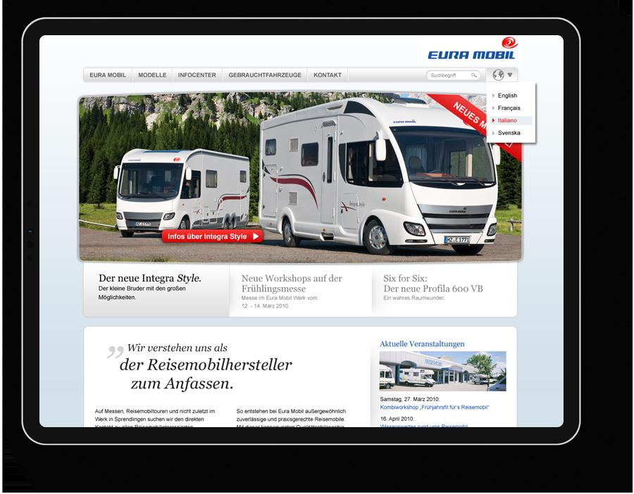User Interface Design für Wohnmobilhersteller, Industrieunternehmen