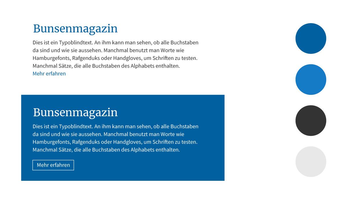Corporate Design-Styleguide und Webdesign für bunsen aus Frankfurt.