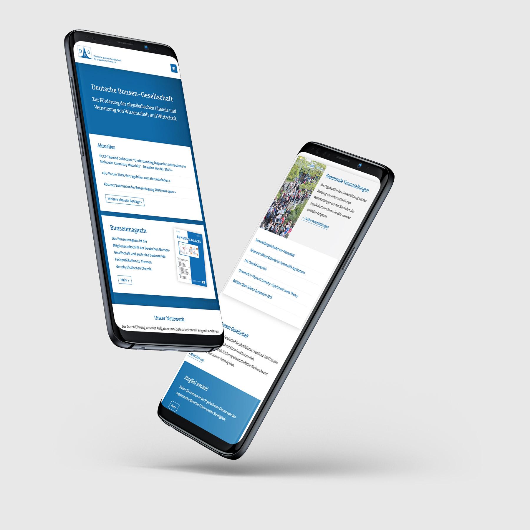 Mobile und Responsive Website für die Bunsen Gesellschaft, Frankfurt