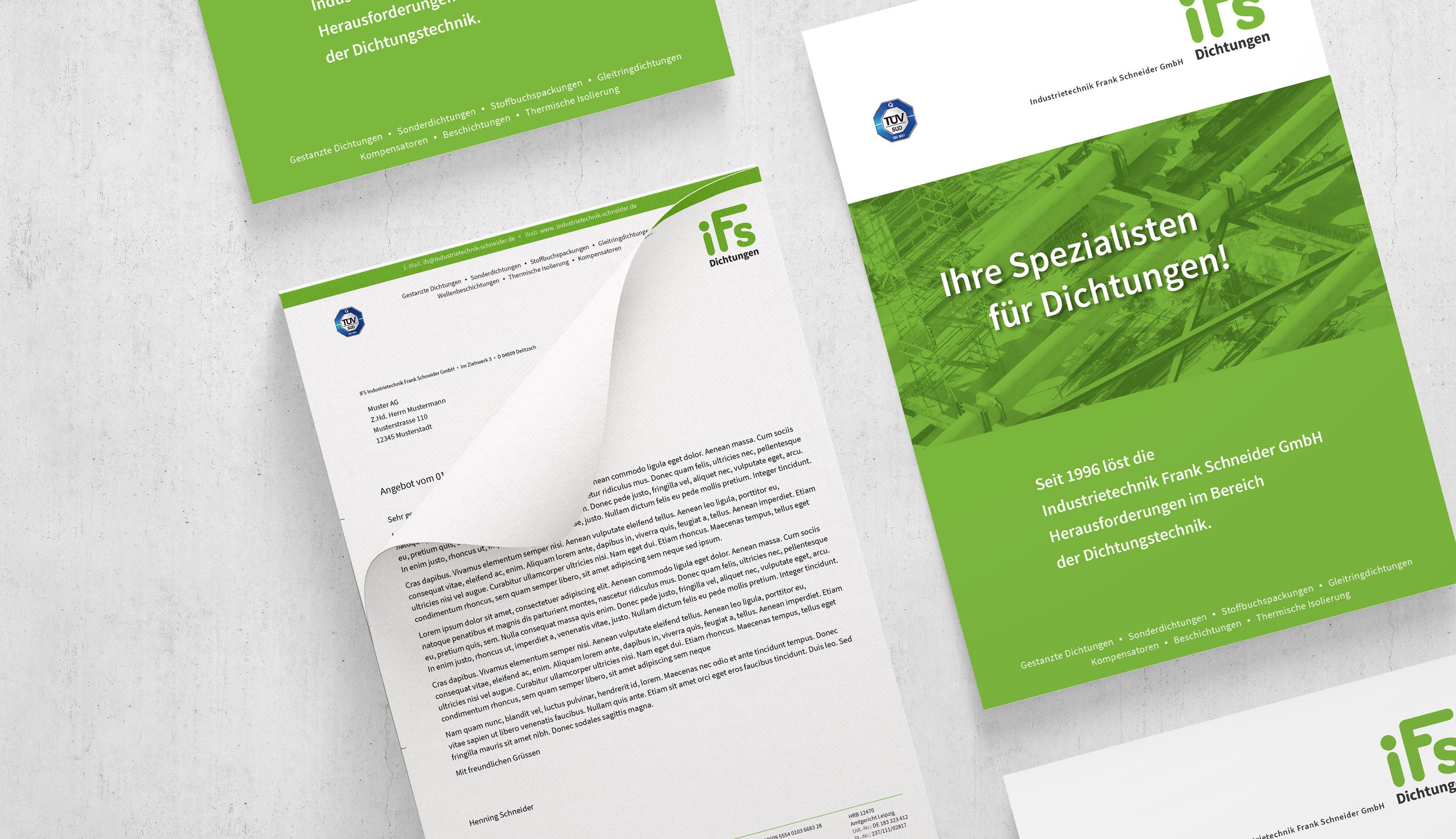 Flyer und Produktblatt-Design für einen Mittelständler aus Leipzig.