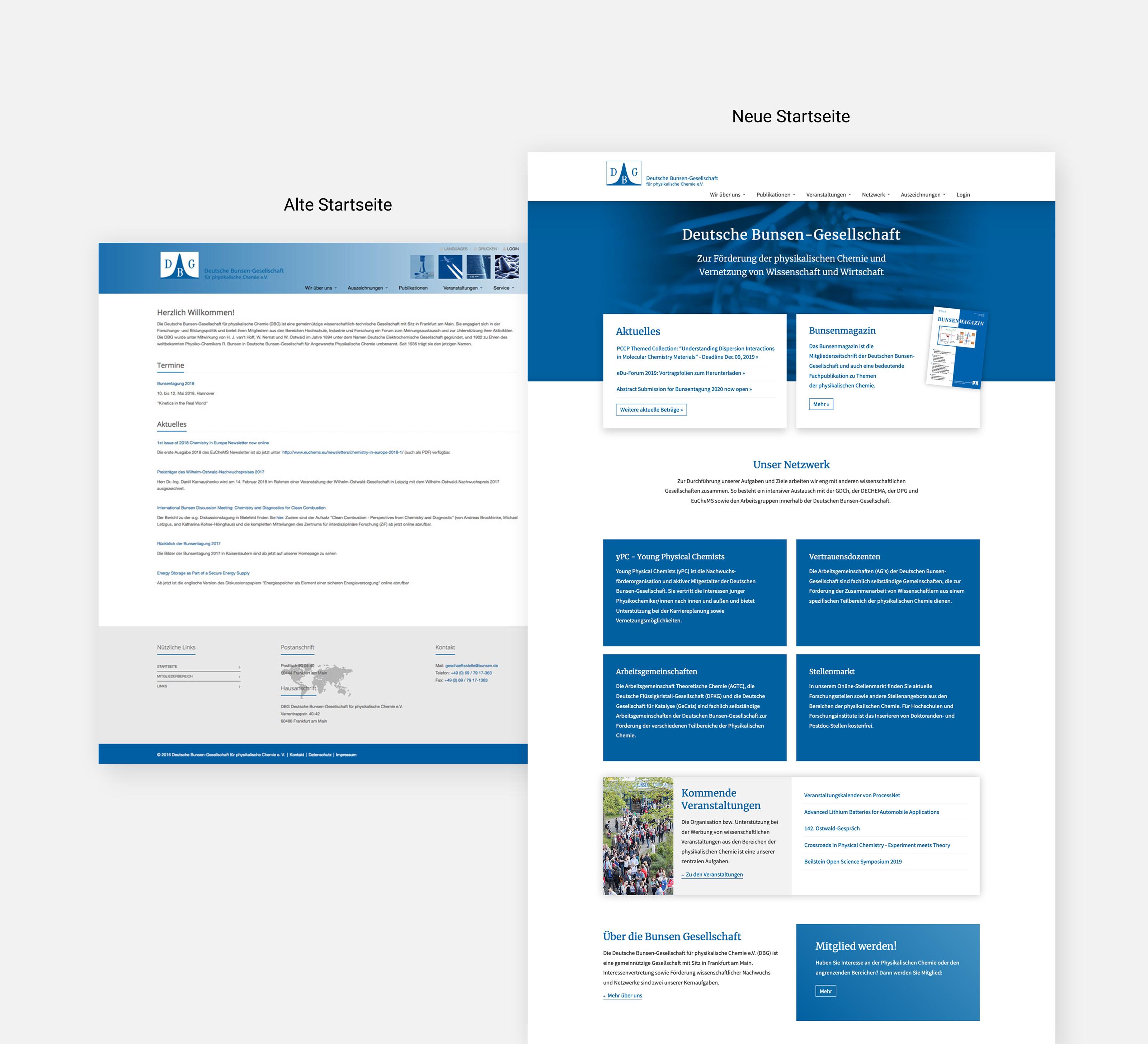 Corporate Website für die Bunsen Gesellschaft, Frankfurt