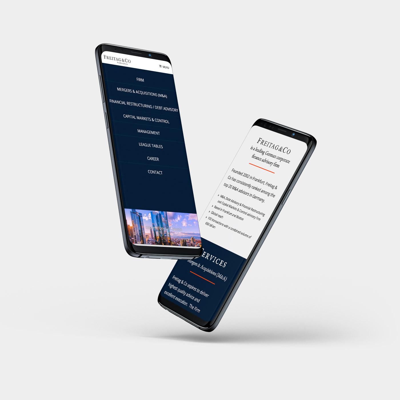 Mobile Webdesign, Redesign für eine Frankfurter Bank