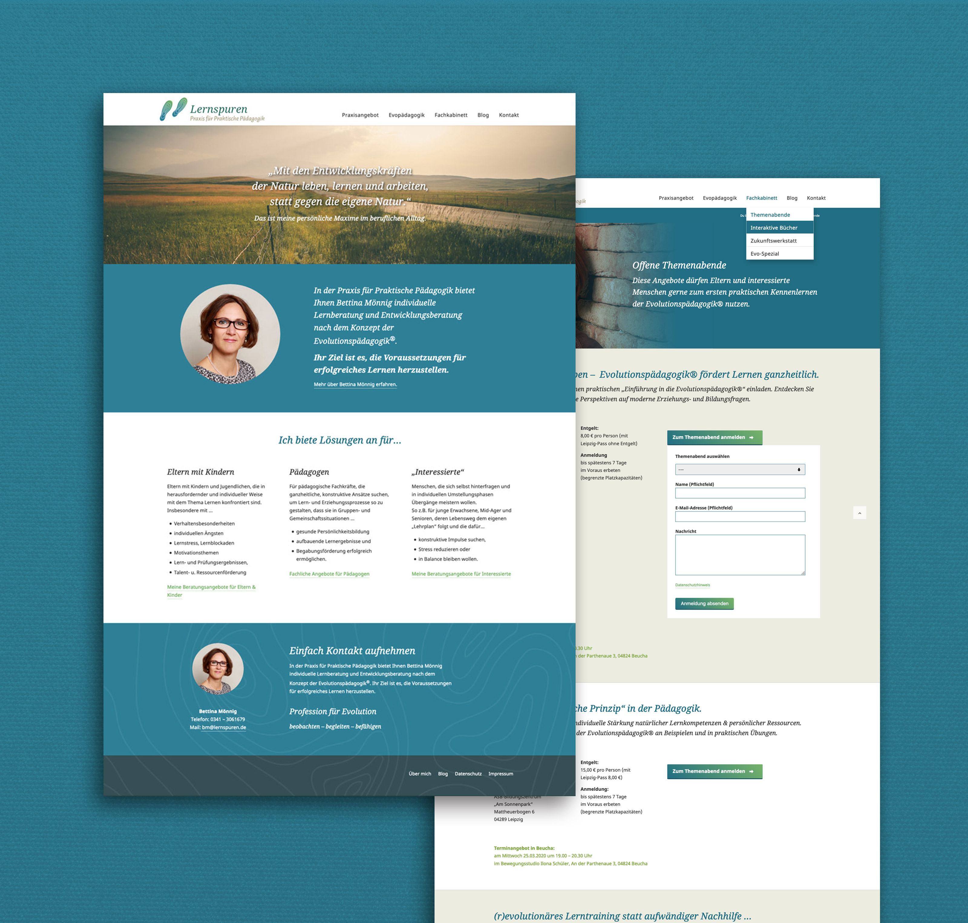 Responsive Webdesign für eine selbständige Pädagogin aus Leipzig.