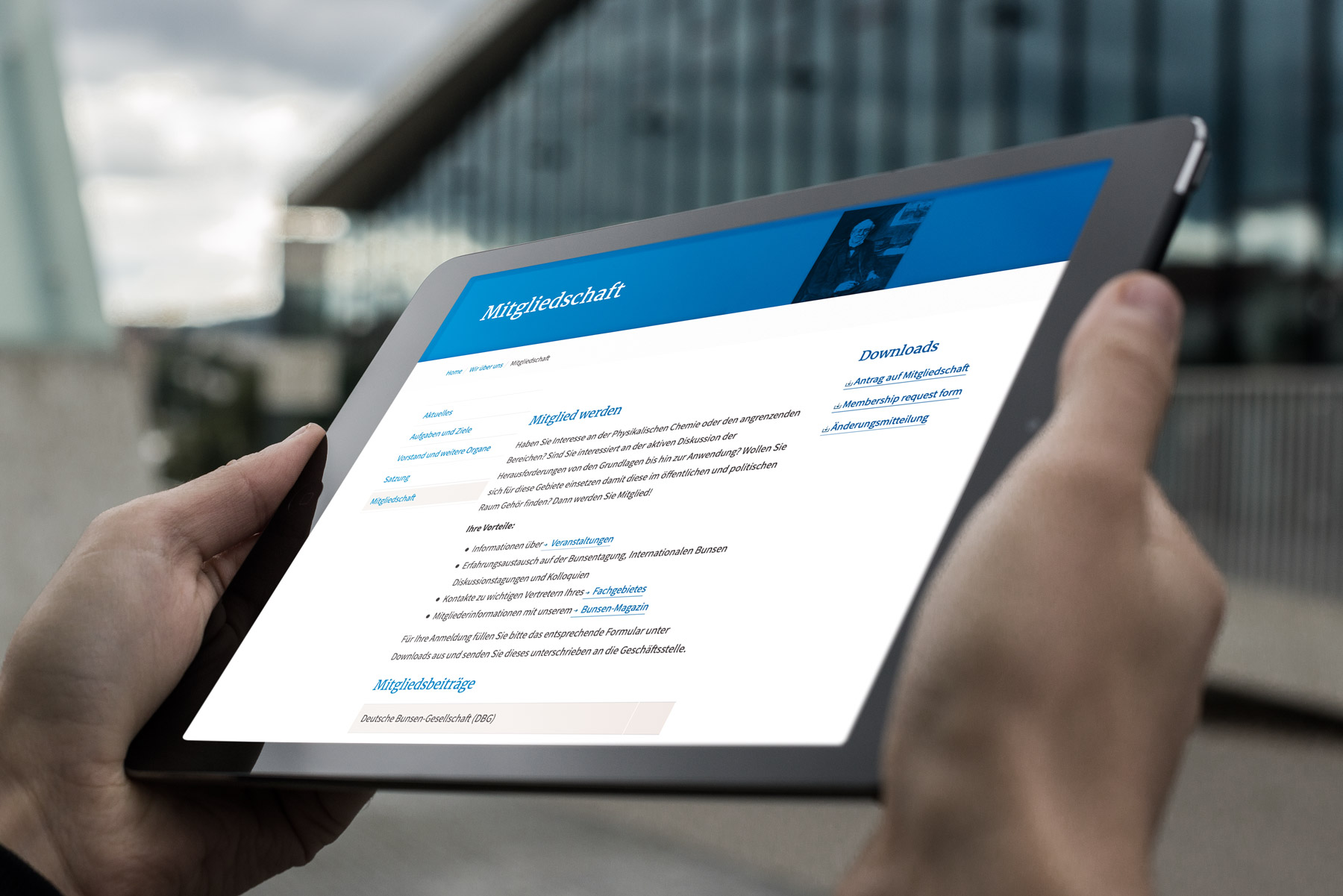 Responsive Webdesign für die Bunsen Gesellschaft, Frankfurt