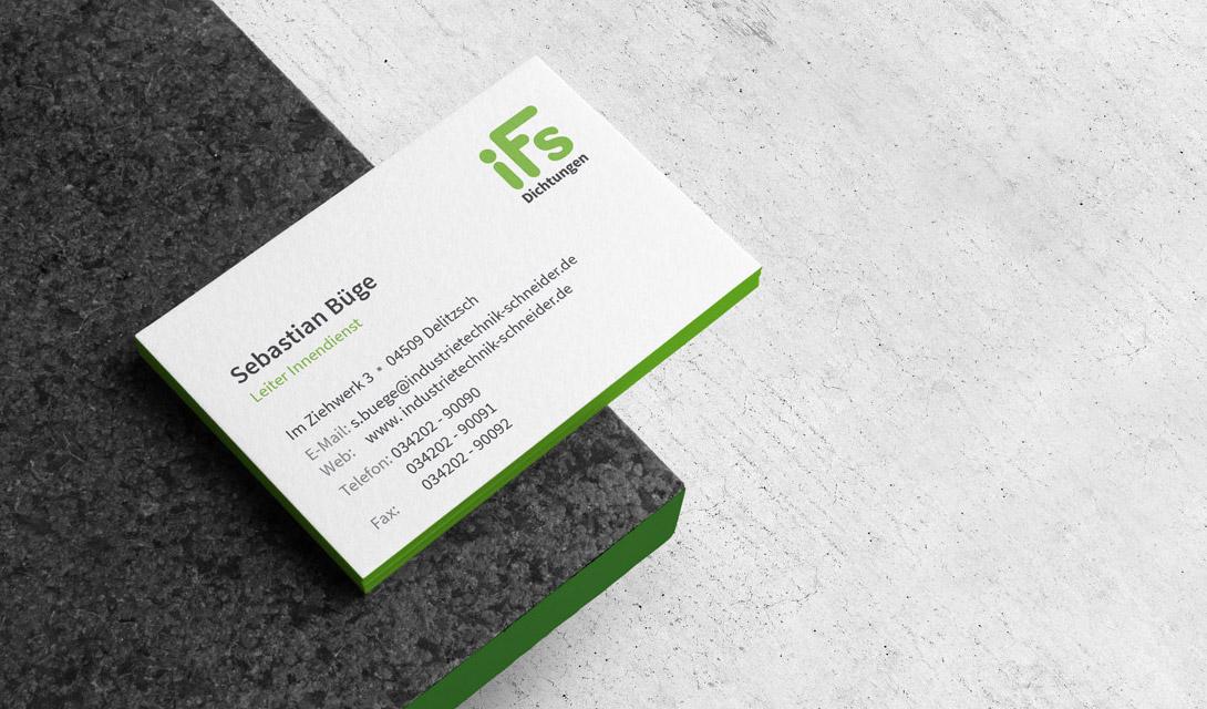 Visitenkarten-Design für ein mittelständisches Unternehmen aus Leipzig, Sachsen.