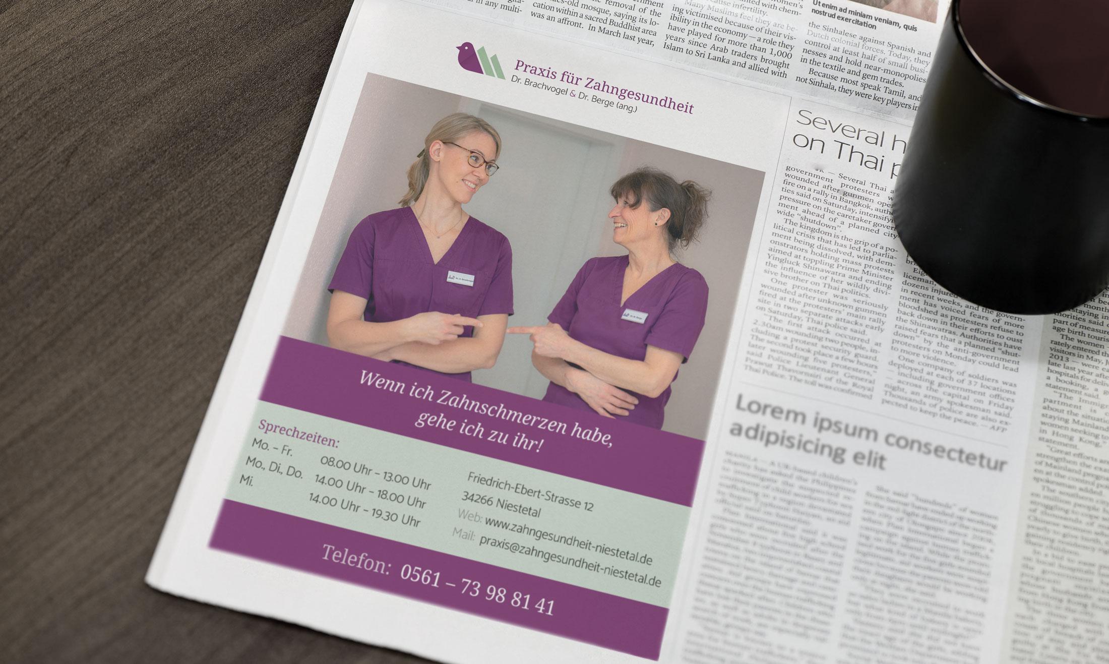 Anzeige Design Zahnarzt Kassel